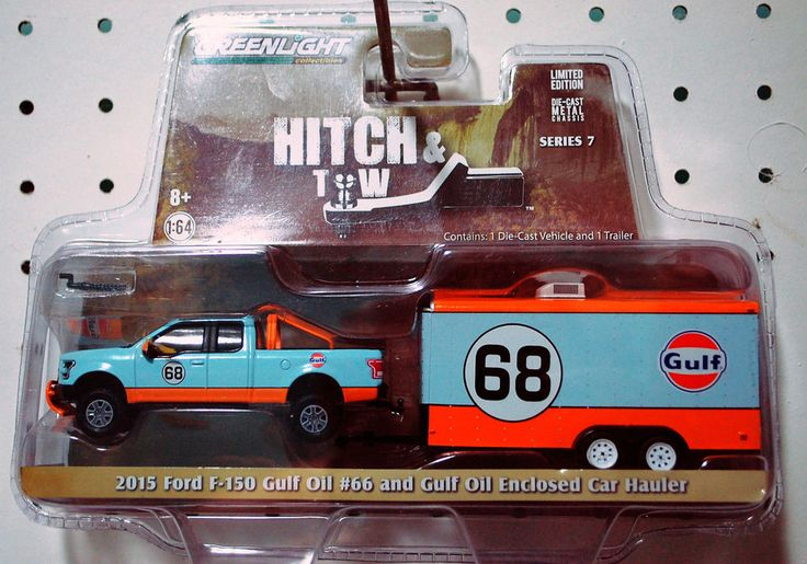 Greenlight Hitch & Tow 2015 Ford F-150 Gulf #66 and Gulf Oil Enclosed Car Hauler