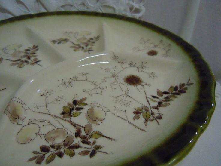Vintage Divided Serving Plate, Green Serving Dish, Olive Green Section Plate,  Zeller Keramik Graser Porcelain Serving Tray by ReTHINKinIt on Etsy