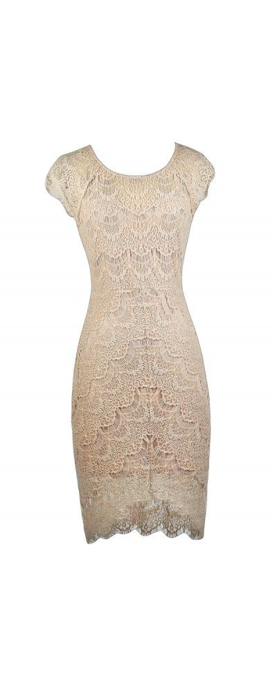 Lily Boutique Torey Eyelash Lace High Low Sheath Dress in Beige, $46 www.lilyboutique.com