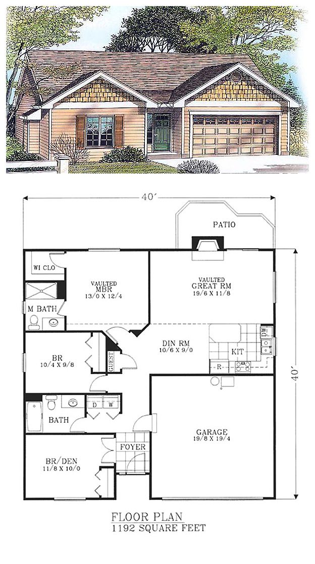 House Plan 46059 | Total living area: 1192 sq ft, 3 bedrooms & 2 bathrooms.