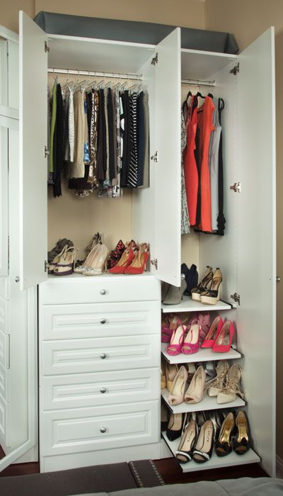 Wardrobe For Her With Pull Out Shelves #wardrobe #closet #organize