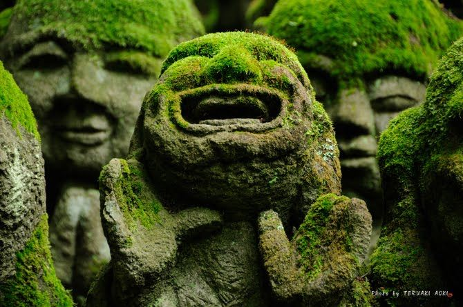 Otagi Nenbutsu-Ji is a Buddhist temple in Kyoto, Japan that features over 1,200 stone figures representing Rakan, or disciples of Shaka (the founder of Bud