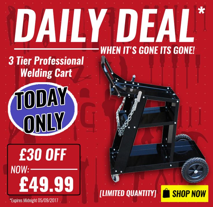 DAILY DEAL: £30 OFF Frost 3 Tier Professional Welding Cart. The welding cart is the perfect addition to any MIG/TIG welder or plasma cutter, its steel construction with a durable finish is good for years of use. Shop Now