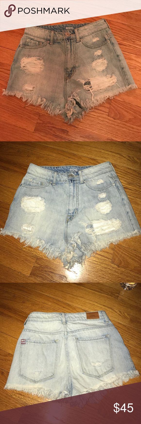 BDG High waisted Jean shorts Light-medium wash high waisted Jean shorts. Distressed fringe on bottom and rips on front. Pockets in front and back BDG Shorts Jean Shorts