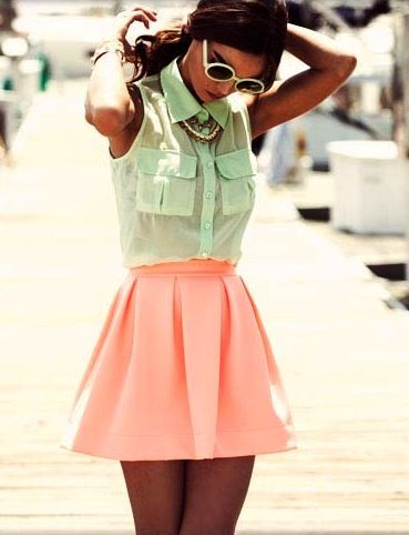 mint / neon skater skirtColors Combos, Fashion, Mint Green, Summer Outfit, Style, Clothing, Pink, Pastel Colors, Skater Skirts