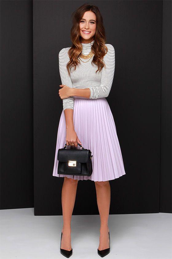Beauty and the Pleats Lavender Vegan Leather Midi Skirt at Lulus.com!