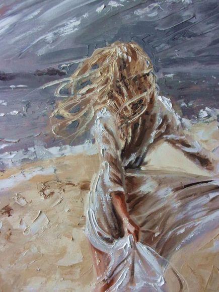 """ ON THE WIND ... "" SEA original painting palette knife GIFT MODERN URBAN ART OFFICE ART DECOR HOME DECOR GIFT IDEA"