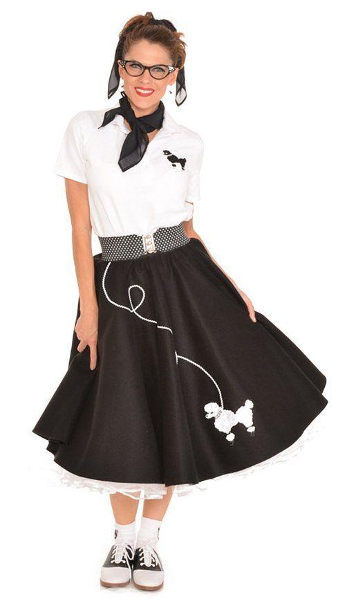 Hip Hop 50s Shop Adult 4 Piece Poodle Skirt Outfit (M/L black and white) | Amazon.com ...