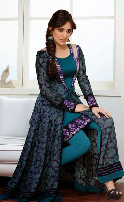 USD 63.27 Neha Sharma Blue Patch Work Designer Suit 37662