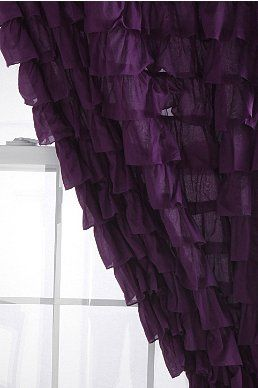 Waterfall Ruffle Curtain....maybe for the bedroom in either purple, grey or white