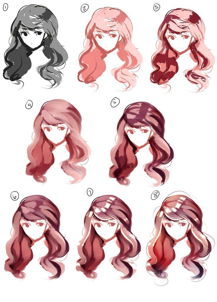 картинки как рисовать волосы в цвете