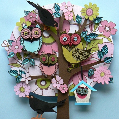Owl Scene // Paper Craft by Helen Musselwhite