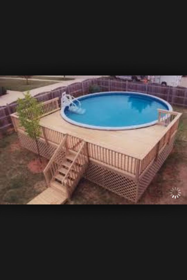 Idea for pool outside yard pinterest decking for Deck plans for above ground pools