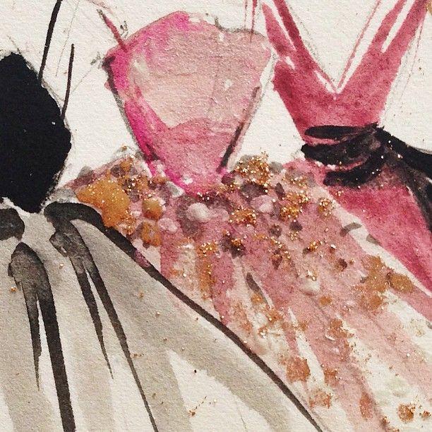 #paperfashion #fashion #ilustration #watercolor #gold #black #pink #glitter