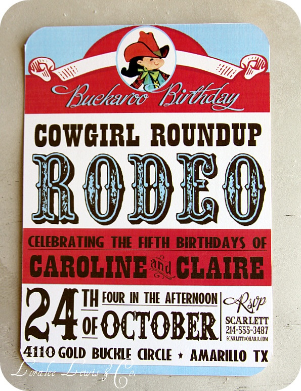 red/teal cowgirl party invitations