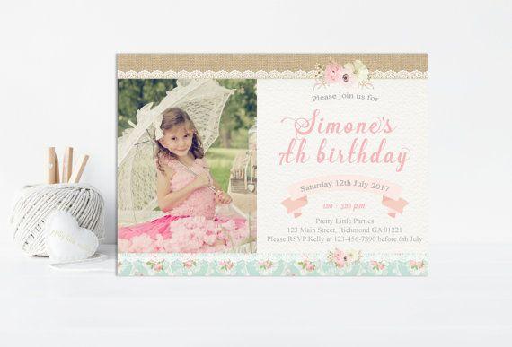 Invitación cumpleaños Chic Shabby Shabby por PrettyLittleInvite