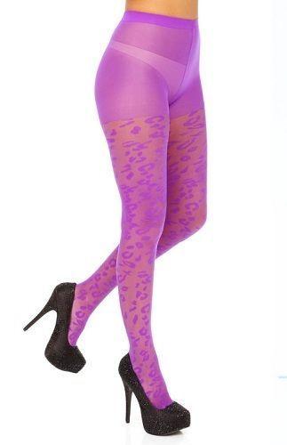 Betsey Johnson Tights S/M Purple Violet Leopard Pantyhose Nylon New #BetseyJohnson #Tights