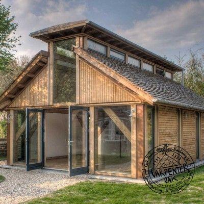 Douglas Fir Timber Framed Music Room and Outbuilding by Carpenter Oak Ltd Devon