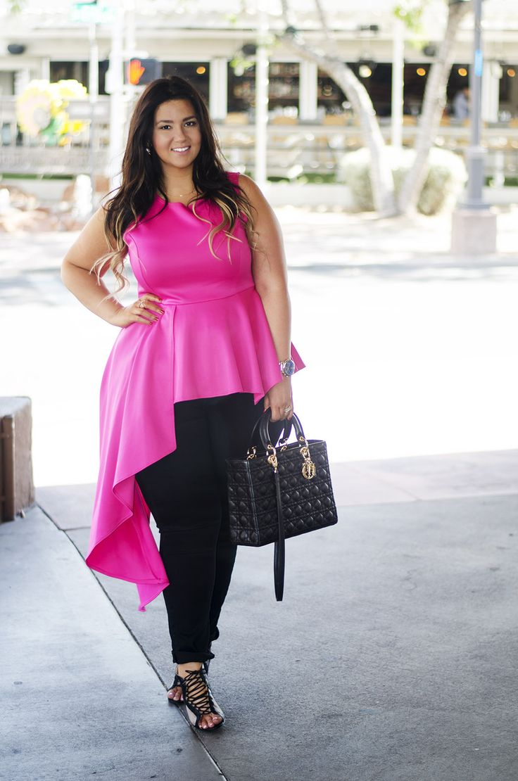 plus size pink top ootd peplum what to wear with pink
