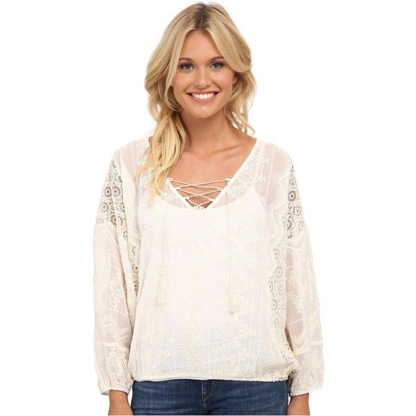 Sanctuary Cheyenne Blouse Women's Clothing, Blue ($68) ❤ liked on Polyvore featuring tops, blouses, blue, blue shirt, long sleeve blouse, v neck long sleeve shirt, bohemian shirts and embroidered shirts