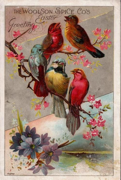 The Woolson's Spice Co. Easter Greeting ~ Vintage trade card