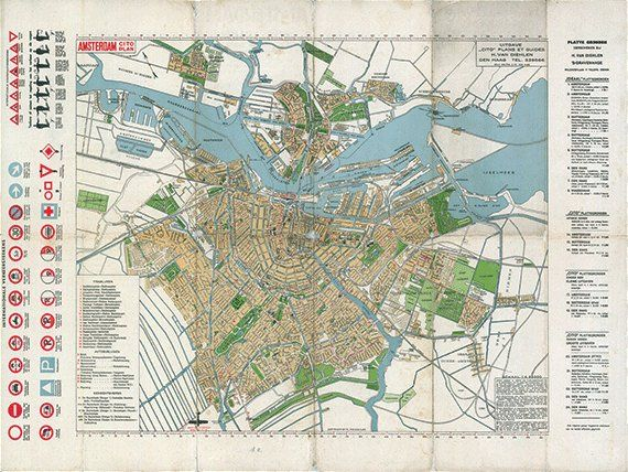 graphic relating to Printable Map of Amsterdam named Amsterdam map print map typical aged maps Antique map poster