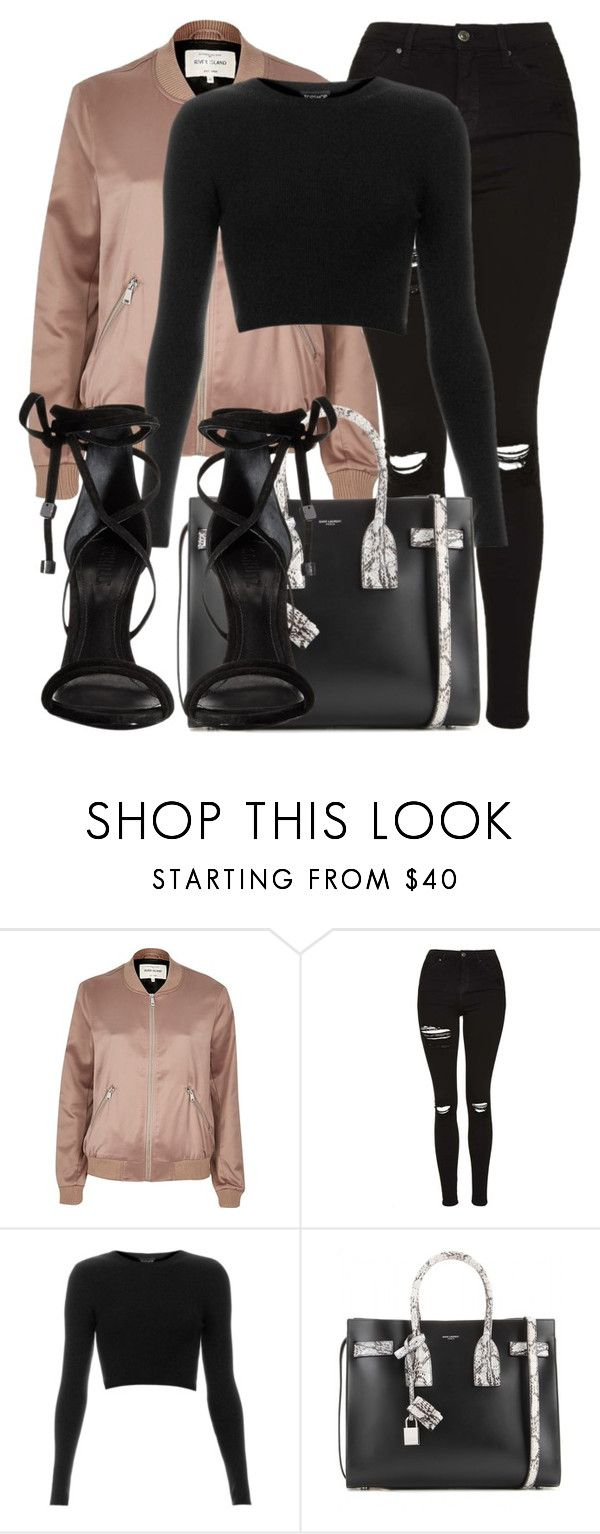 """Untitled #3176"" by littlemix-beautstyle ❤ liked on Polyvore featuring River Island, Topshop, Yves Saint Laurent and Schutz"
