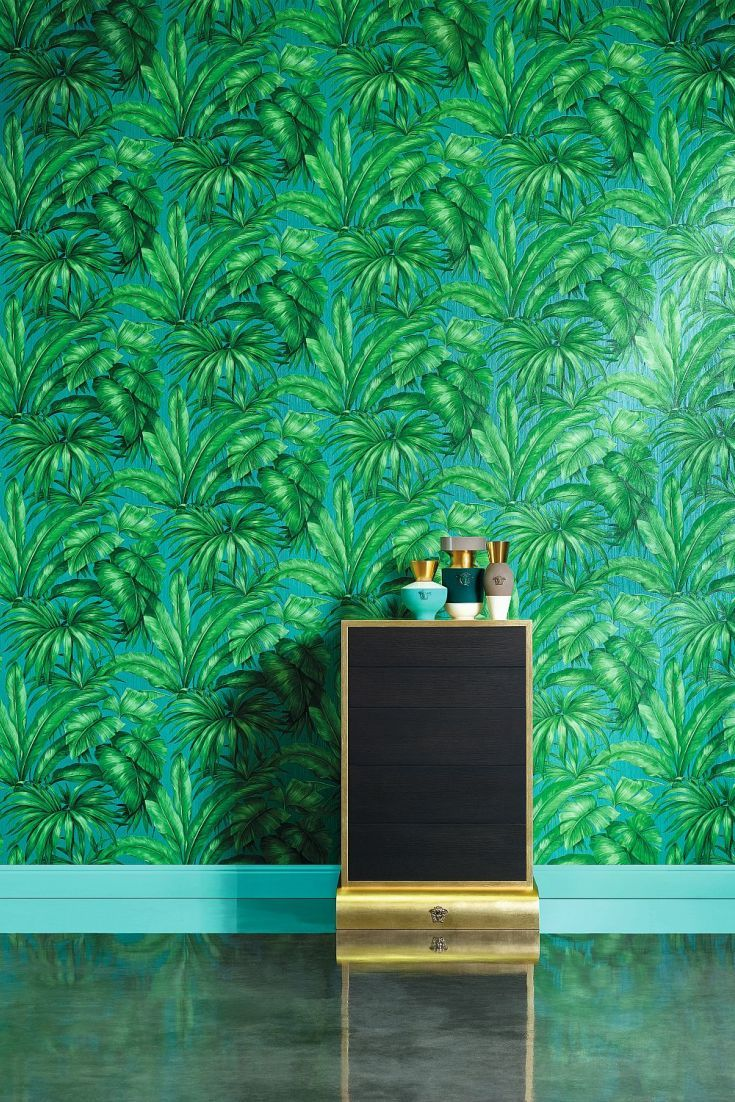 A Highly Textured Vinyl Wallpaper Of Large, Lush Jungle Leaves Bringing An  Exotic Flavour To