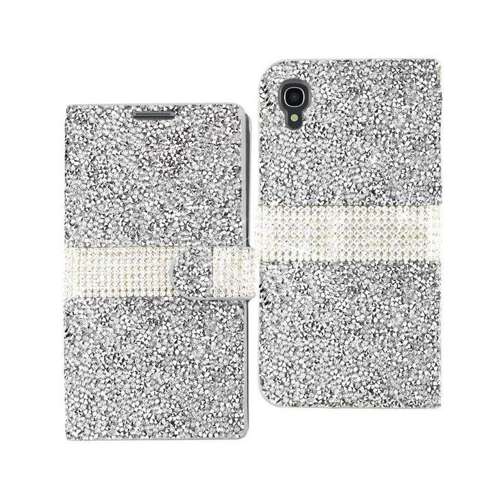 Reiko Diamond Flip Case Alcatel Onetouch Idol 3 5.5Inch Silver