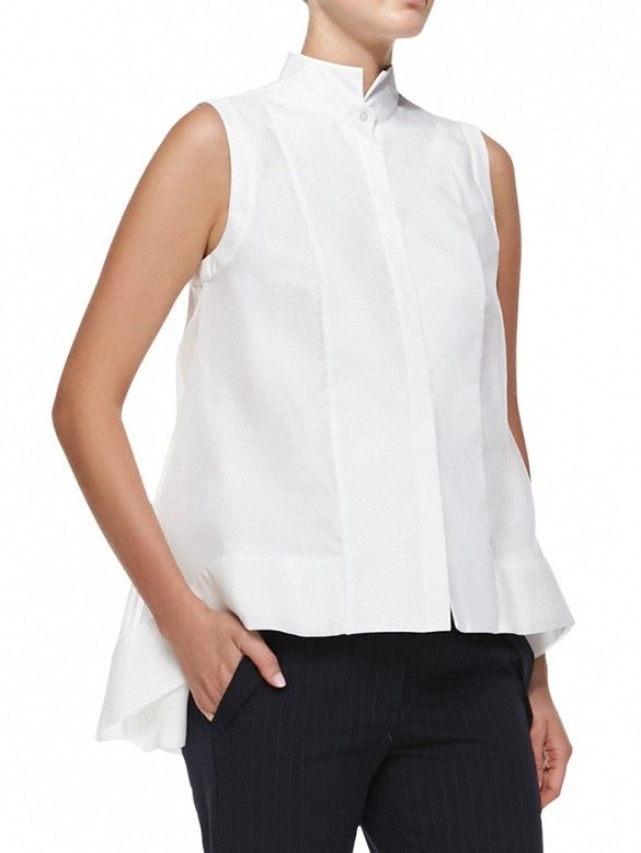 this is Brunello Cucinelli Sleeveless Layered-Hem Blouse ($1545) Cabi - ize this top with fall 2014 with the Jubilee top at Cabi for $84