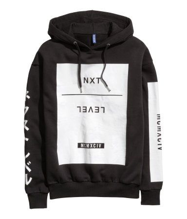 Black hooded sweatshirt with white print on front & sleeves. | H&M Divided Guys