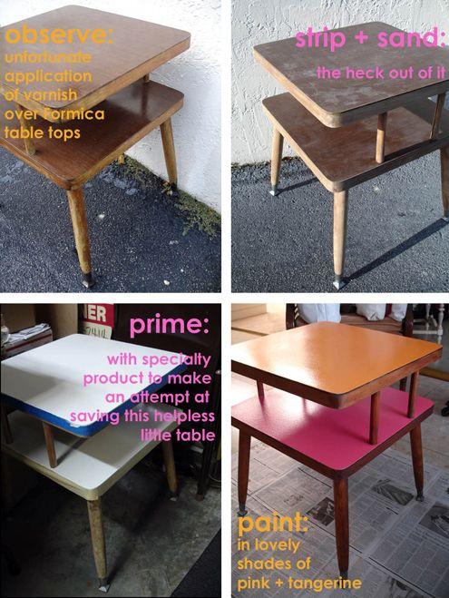 Tangerinedream: DIY Formica Table Top Mcm ~ Strip Of Varnish ~ Sand Formica  ~ Prime