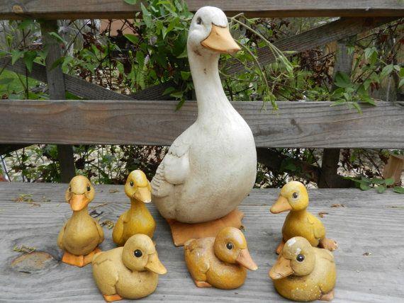 Vintage Ceramic Duck Family Garden Decor By