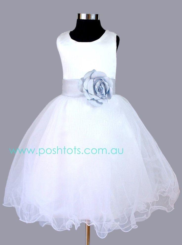 """Alexys"" girls formal dress with silver sash. Sizes 2-8. www.poshtots.com.ai"