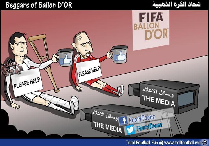 FootyToonz Cartoon:Beggars of Ballon D'OR   http://www.trollfootball.me/display.php?id=14150   #football #soccer #Trollfootball  #BallonD'or #BallonDor #Ribery #Ronaldo #Beggar