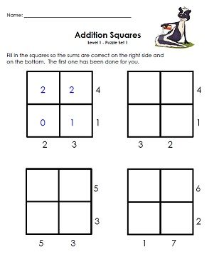 Addition Squares Level 1 Set 1 Like a basic soduku