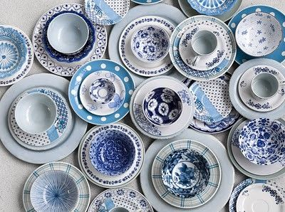 mismatched tea cup collection...: doesn't matter what shade of blue...what hue of white... by alison