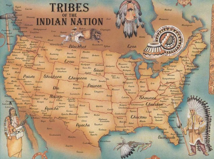 Map of Native American Tribes.    Tribes of the Indian Nation:  Blackfoot, Crow, Paiute, Shoshone, Cheyenne, Sioux, Cree, Pawnee, Ute, Navajo, Apache, Shawnee, Cherokee, Choctaw, Seminole...