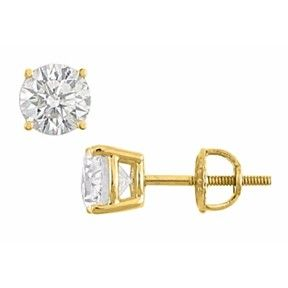 2.00 Ct Round Cut Cubic Zirconia Stud Earrings In 14K Yellow Gold by JewelryHub on Opensky