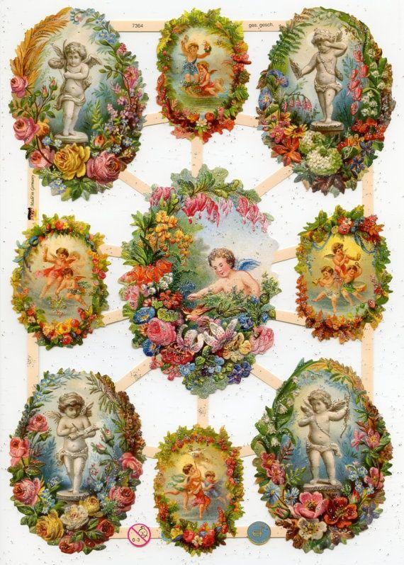 German Victorian Style Embossed Scrap Die Cut -Christmas Easter Angels EF7364