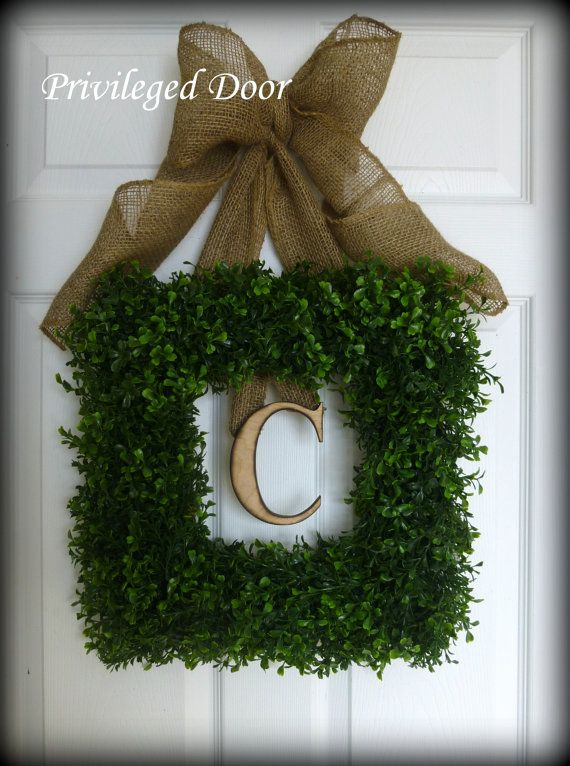 Spring Wreath. Easter Wreath. Boxwood Wreath. Square Faux Boxwood with Woodfired Monogram Letter and Rustic Burlap Bow. Country Chic.