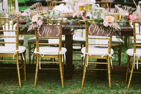 Mr et Mme chaise signes - signes de mariage en bois - bois