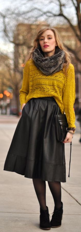 Styling skirts for fall/winter! Bundle up by pairing your favorite midi skirt with a great sweater, cozy scarf, tights/leggings and boots! Talk about a comfortable and put-together look! Where would you wear this style?