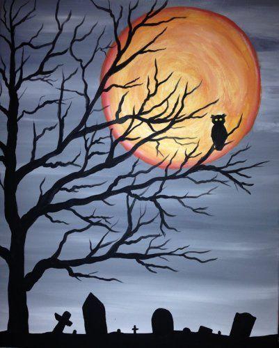 "@PaintNite 21Oct2015 -  ""Spooky Tree Owl."" >> http://www.PaintNite.com  #spooky #owl #halloween"