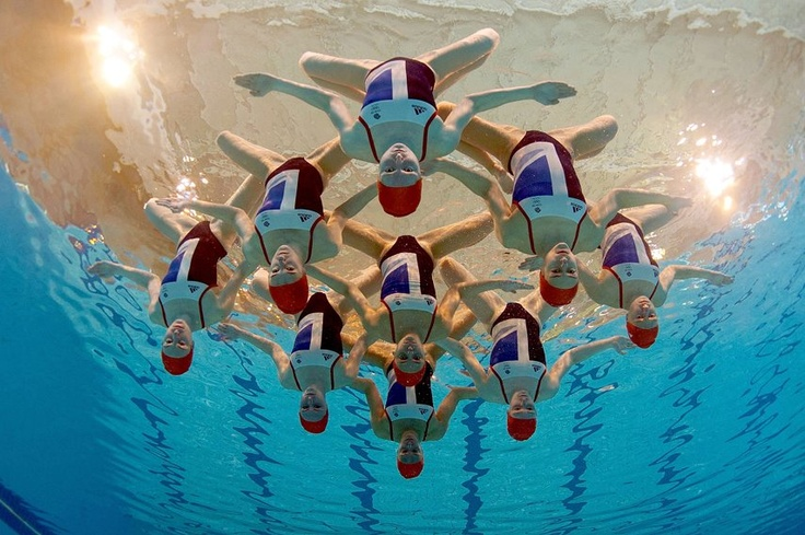 Great Britain Synchronised Swimming Team competing at London 2012.
