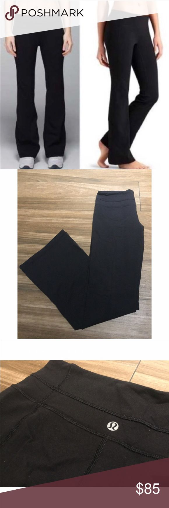 Lululemon Athletica Black Wide Leg Yoga Pants Lululemon Athletica Black Bell Bottom Exercise Pants in solid black. Size 6. Previously owned, great condition. Made from a very stretchy, comfortable material. Perfect for long workouts! lululemon athletica Pants