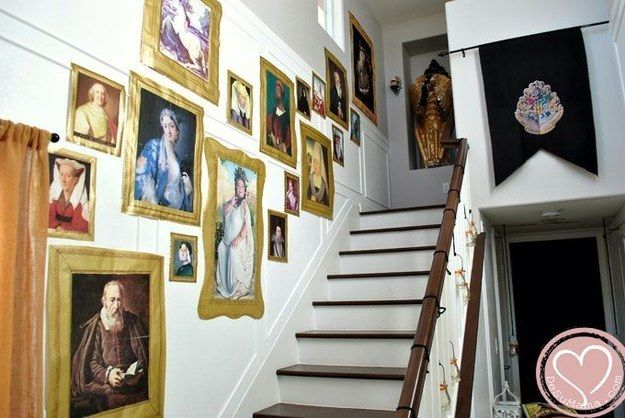 If you have a color printer, you can print out your own castle portraits. | 33 Cheap And Easy Ways To Throw An Epic Harry Potter Halloween Party