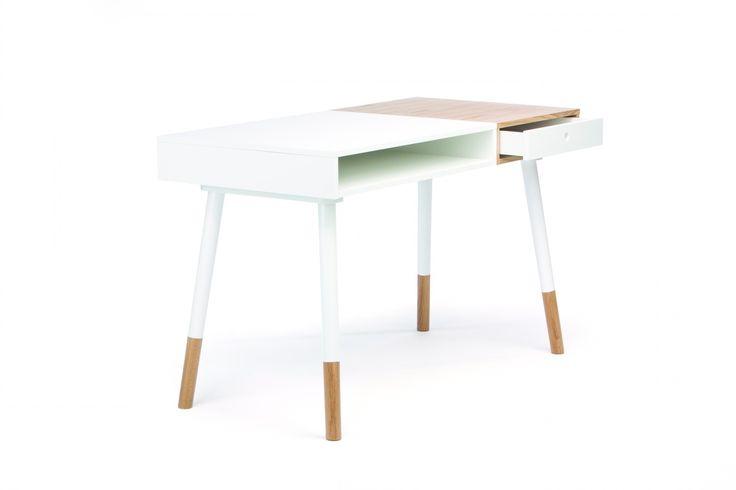 Białe biurko Sonnenblick w skandynawskim stylu - Sklep meblowy Onemarket - Meble do sypialni, pokojowe, młodzieżowe