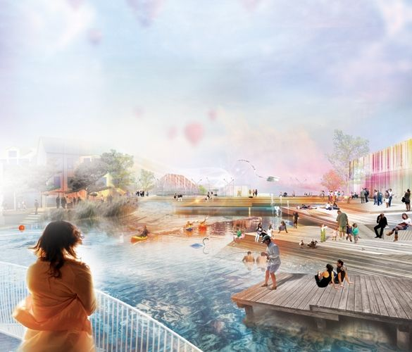 """The first prize proposal """"Down by the River"""", recognises the force of the water in Floda and utilizes the potential of future connections to focus Floda's future on the water.  Four key bridges form the starting point for four future developments. In each unique area, the existing characters of the site are strengthened while new additions help weave together Floda's center."""