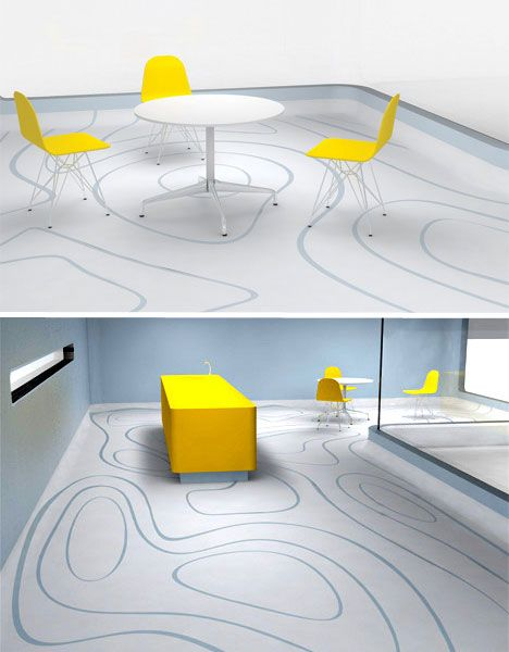 The idea of 'dimension flooring', designed by Alistair Bramley, is that the free-flowing design on the laminate flooring surface follows the flow of the room – how furniture is situated and how people move around it. Video footage of how people moved through the space would be used to generate patterns that would be printed and assembled accordingly.